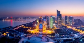 panoramic night view of Hangzhou, china