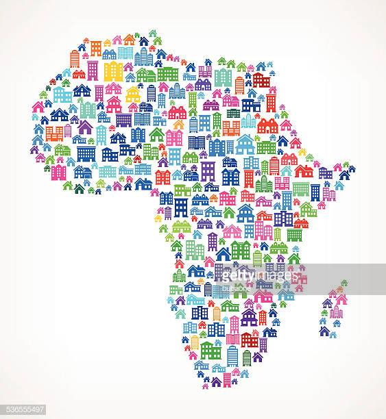 Africa On House and Real Estate Icon Pattern
